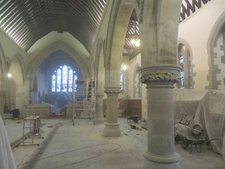 Floor refurbishment in progress at St Benedicts
