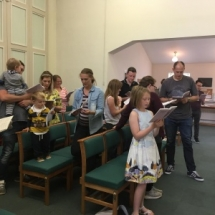 Sunday 16th July - We are all praising God by singing hymns.